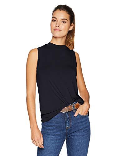 Amazon Brand - Daily Ritual Women's Jersey Sleeveless Boxy Mock-Neck Shirt, Navy, X-Large