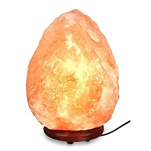 """Natural Himalayan Hand Carved Salt Lamp with Indian Rosewood Base, Bulb And Dimmer Control, Medium Size, 8-11 lbs, 7.5-10"""" Height"""