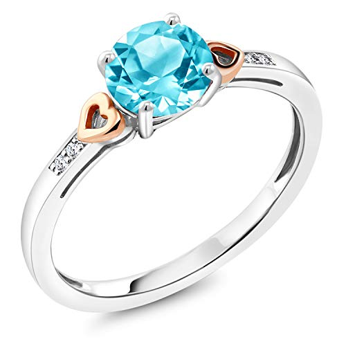 Gem Stone King 925 Sterling Silver and 10K Rose Gold Ring Round Swiss Blue Topaz with Diamond Accent 1.41 cttw Available 5,6,7,8,9
