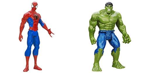 [Super Hero Spider-Man vs Hulk Titan 12 inch Hero Series Action Figures Toys, 2 Pack] (He Man Childrens Costume)