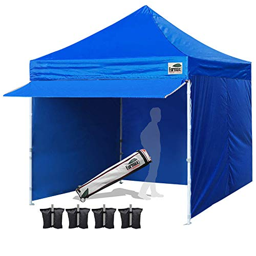 Eurmax 10 x 10 Pop up Canopy Commercial Tent Outdoor Party Canopies with 4 Removable Zippered Sidewalls and Roller Bag Bonus 4 Canopy Sand Bags & 24 Squre Ft Extended Awning(Blue)