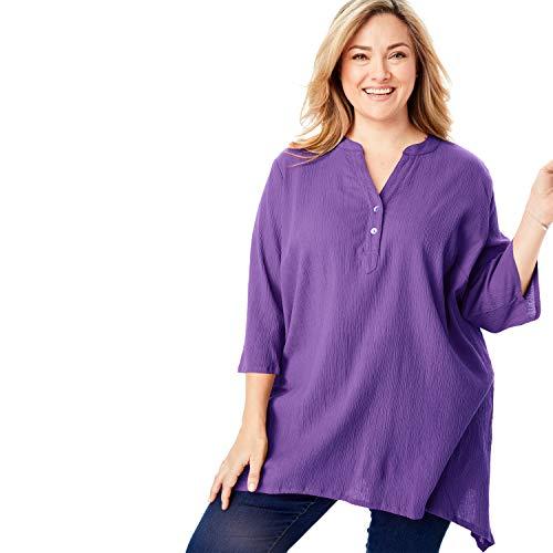 - Woman Within Women's Plus Size Buttoned Notch Neck Gauze Maxi Tunic - Plum Burst, 22/24