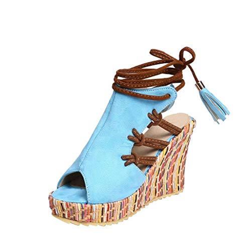 Sandals for Women Fzitimx Summer Ladies Sandals Bohemian Ethnic Fashion Open Toe Color Velvet Wedge Heel Strap Sandals Platform Thick Bottom Wedge Sandals