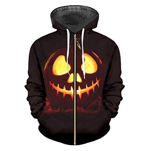 Halloween Sports 3D Printed Zip Hoodies Funny Pumpkin Pattern Large Size Halloween Pumpkin XXL]()