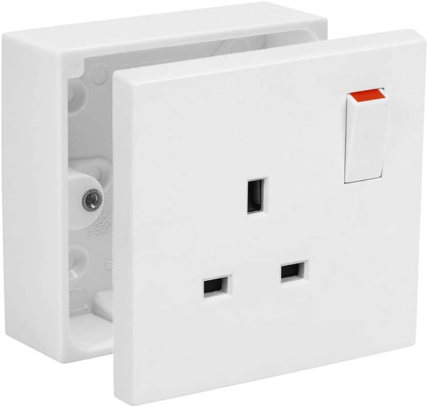 Axiom 13A Single White Switched Socket /& Single Surface Mount 25mm Pattress Box 1 Gang Set Electrical Outlets 1