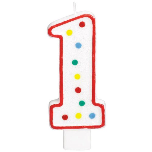Birthday Party Candle - #1 Polka Dots Birthday Candle | Multicolor | Party Supply