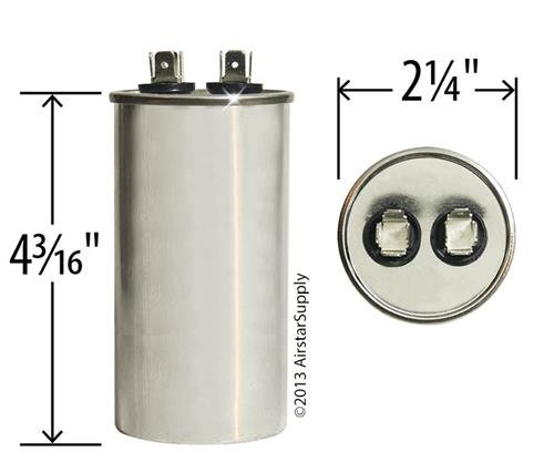 Carrier//Bryant//Payne HC96KA060 Replacement Pack 2 60 uf//Mfd 370//440 VAC AmRad Round Universal Capacitor Made in The U.S.A.