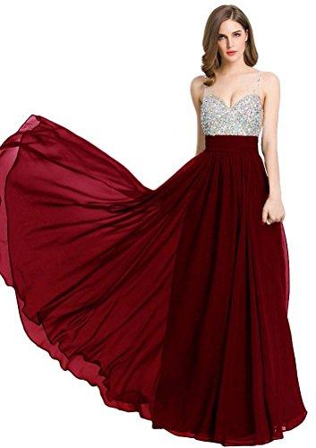 Emily Beauty formelle Ausschnitt Chiffon Lange Kleidung burgunderfarben Abendkleider Frauen Abendkleider V Strass d4qa4R