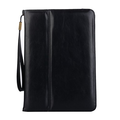 TechCode 10.5'' iPad Pro Protecive Case, PU Leather Tablet Pocket Smart Stand Case Slim Fit Cover with [Card Slot] [Hand & Wrist Strap] Multi-Angle Viewing for Apple iPad Pro 10.5(Black) by TechCode