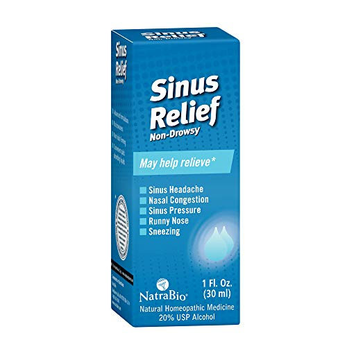 NatraBio Sinus Relief Homeopathic Drops   Temporary Relief from Sinus Headache & Pressure, Congestion, Sneezing & Runny Nose   Non-Drowsy   ()