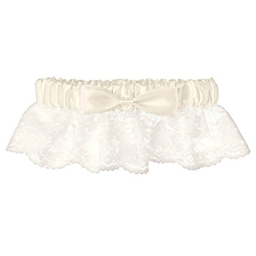 Amscan 395578 Gift, Garter-Lace with Ribbon, Party Supplies, Ivory, one Size 1ct, Fits Most, White
