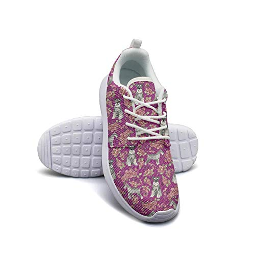 Qumfccdgcc Women's Running Shoes Flower and Miniature Schnauzer Dog Pink Diamond Mesh Cloth Fashion Shoes ()