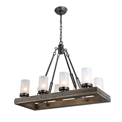 (LNC Wood Island Light Rectangular Farmhouse Chandelier for Kitchen, Dining Room with 8 Frosted Glass Shades, Model A03487,)