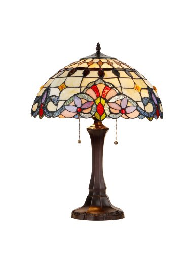 "Chloe Lighting CH33313VI16-TL2 ""Cooper"" Tiffany-Style Victorian 2 Light Table Lamp 16″ Shade"