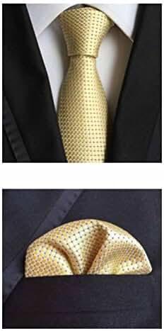 MENDENG Men's Gold Plaid Checks Silk Necktie Wedding Ties Hanky 2 Pieces Sets