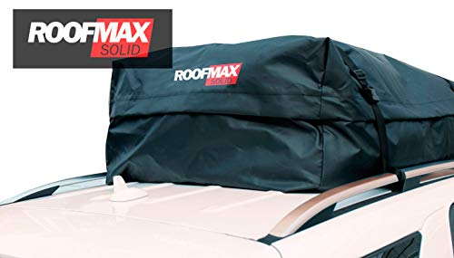 Roofmax Solid Waterproof Roof Cargo Bag Carrier Official Warranty 15 Cubic Feet Fits All Cars, Includes Heavy Duty Straps + Free Protective Mat