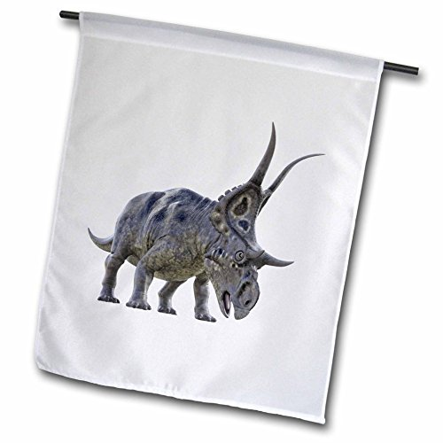 3dRose Boehm Graphics Dinosaur - Diabloceratops about to Charge - 18 x 27 inch Garden Flag (fl_282252_2) (Drawing Dinosaurs About)