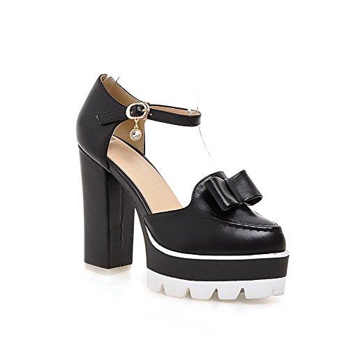 AmoonyFashion Womens Closed Toe Buckle Microfibre Solid High-Heels Sandals Black YuaZwatit