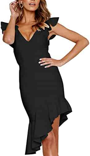 dac4d06fe36a Longwu Women's Sexy V Neck Irregular Sleeveless Bodycon Party Club Ruffle  Midi Dress