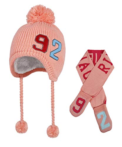 Toddler Kids Beanie Hat Scarf - Baby Girls Child Winter Knit Cap Set for Boys, Outdoor Warm Fashion Outfits 6-12 12-36 Months(Pink)