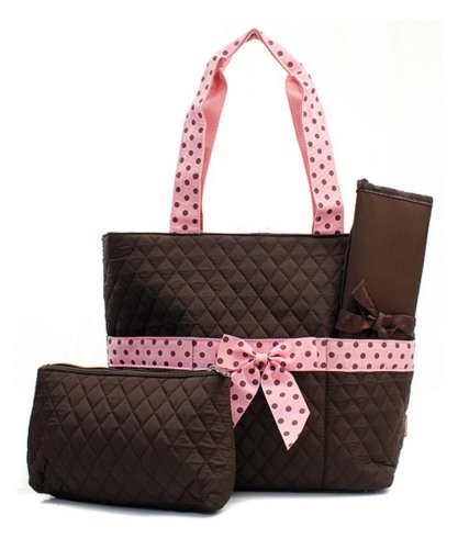 Quilted Brown And Pink Solid Print Monogrammable 3 Piece Diaper Bag With Changing Pad Tote Bag (Diaper Bag Pink And Brown)