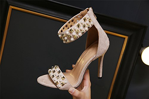 Ankle High Platform Toe Strap size Beige Stiletto Sandals Ladies Womens Shoes Peep Heel EX0qWw6B