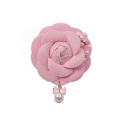 Zarapack Women'sLuxury Elegant Royal Tweed Camellia Flower Pin brooch with Pearl Dangle Gift Box Pack (Pink)