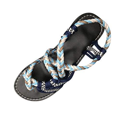 Roman Beach Shoes - ✔ Hypothesis_X ☎ Women Hemp Rope Flip Flops Sandals Peep Toe Shoes Slippers Khaki
