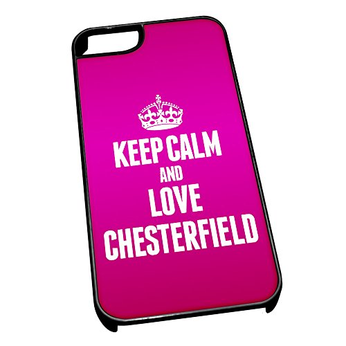 Nero cover per iPhone 5/5S 0144Pink Keep Calm and Love Chesterfield
