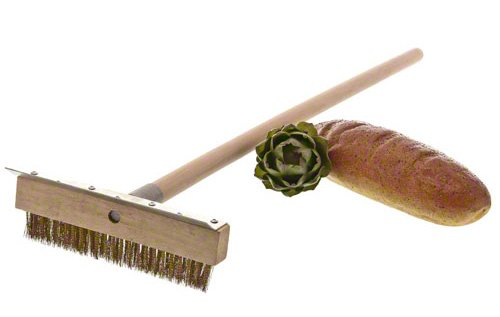 Update International 38-Inch Pizza Oven Brush 7 Pizza oven brush with wooden handle Features a brass bristle brush that will not scratch oven interior It has brush head metal scraper to remove baked-on dough residue from the grates