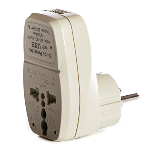 - OREI 3 in 1 Schuko Travel Adapter Plug with USB and Surge Protection - Grounded Type E/F - Germany, France & More