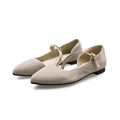 Balamasa - Tacones Cuadrados Con Punta Estrecha, Hebilla, Zapatos De Uretano, Beige