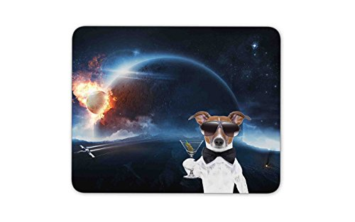 Dogs with sunglasses hit the planet against the background of the planets - Mouse pad Gaming Mouse pad Mousepad Nonslip Rubber - Sunglass Planet