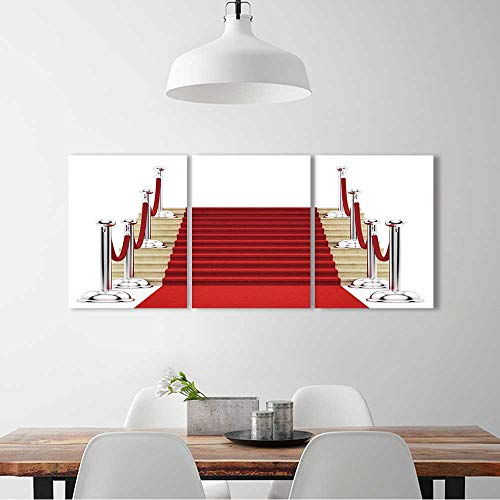 Wall Art for Living Room Decor 3 Piece Set Frameless render of silver stanchions and a red carpet For Home Modern Decoration Print Decor W36