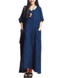 Mordenmiss Women's New Plus Size Jacquard Maxi Dress with Pockets