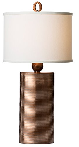 Thumprints 1165-ASL-2122 Mirage Off White Shade Table Lamp, Copper Finish