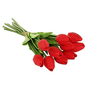 EZFLOWERY 10 Heads Artificial Tulips Flowers Real Touch Arrangement Bouquet for Home Room Office Party Wedding Decoration, Excellent Gift Idea for Mothers Day (10, Red) 34