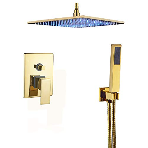 "Rozin Ceiling Mounted 2-way Mixer LED Light 12"" Rainfall Shower Set with Hand Spray Gold Polished"