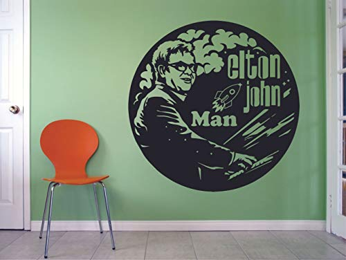 Elton John Rocket Man Wall Decals Music Icon Artist Song Lyrics Singer Musician Rock Pop for Boys/Girls Art Room Music Room Studio Home Bedroom Vinyl Wall Art Decals Decoration Size (10x10 inch)