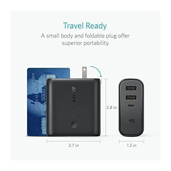 Anker PowerCore Fusion 5000, Portable Charger 5000mAh 2-in-1 with Dual USB Wall Charger, Foldable AC Plug and PowerIQ… 4 The Anker Advantage: Join the 50 million+ powered by America's leading USB charging brand. The Ultimate 2-in-1 Charger: A hybrid high-capacity portable battery and dual-port wall charger in one sleek package. High-Speed Charging: In the wall or on-the-go, Anker's exclusive PowerIQ and VoltageBoost technologies ensure that all devices receive their fastest possible charge. Does not support Qualcomm Quick Charge.