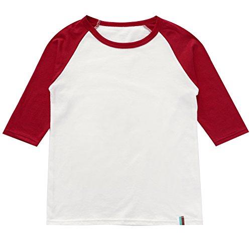 (BesserBay Child Raglan Plain DIY Crew Neck Funny Half T Shirts 3/4 Sleeves School Uniforms Baby Tees)