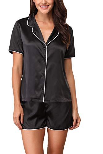 (Giorzio Women's Short Pajama Set Satin Pyjama Button Sleepwear Lounge Pj 2 Piece Black,XXL)
