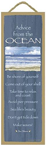 SJT ENTERPRISES, INC. Advice from The Ocean Primitive Wood Plaque, Sign - Measure 5