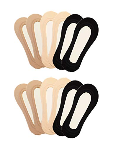 YunKo Thin Ice Silk No Show Low Cut liner Socks Women Elastic Nylon Summer Sock Non Slip (2Black+2Dark Nude+2Nude)