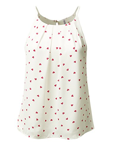 womens-round-neck-front-pleated-heart-patterned-chiffon-tank-top-ivorycoral-m
