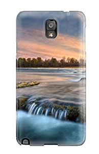 7033167K71574567 First-class Case Cover For Galaxy Note 3 Dual Protection Cover River Earth Nature River
