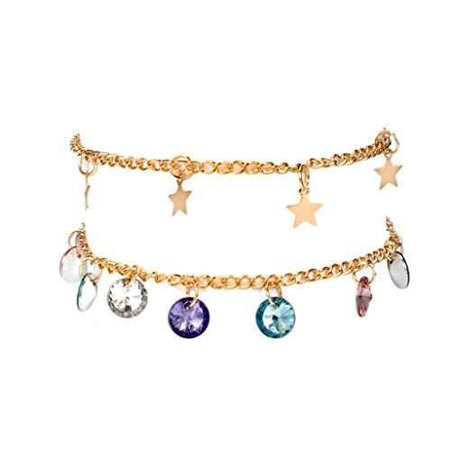 NIHAI 2Piece Set Bracelets Bangle Women Jewelry, Adjustable Gold Chain Star Candy Color Beads Pendant Bracelets, Best Gift for Ladies Teens Girls