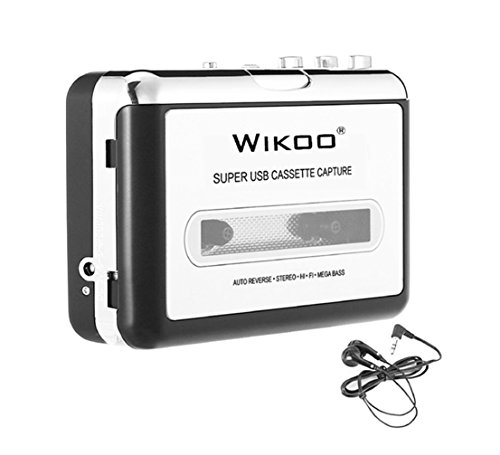 Price comparison product image Cassette to MP3 ConverterWikoo USB Cassette Converter Cassette Player with Earphone,  Portable Cassette Converter Convert Tapes to Digital Version