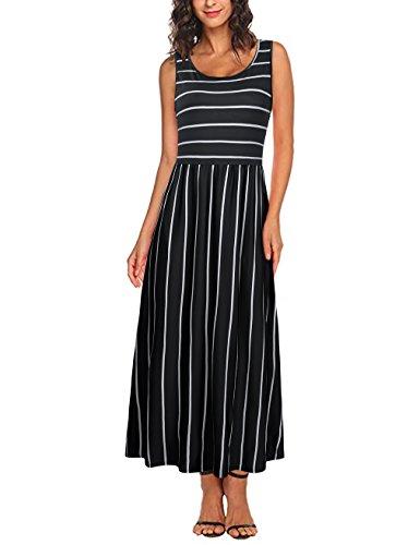HNNATTA Maxi Dresses for Women, Women Summer Sleeveless Crew Neck Striped Long Maxi Dress with Pockets (Dress Cool Summer)