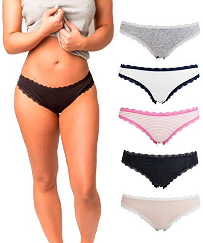 Womens Underwear Bikini Brief Panties with Lace-(5 Pack)